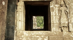Zoom Window Bayon Head Carving Stock Footage