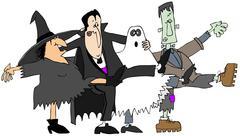 Halloween cancan - stock illustration
