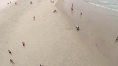 People enjoying the beach, aerial view. Stock Footage