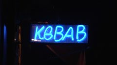 Kebab neon sign. Stock Footage