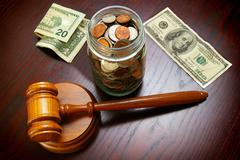 Stock Photo of cash and gavel