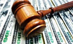 gavel and cash money - stock photo