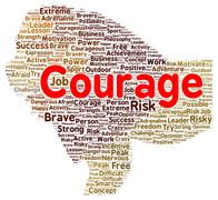 courage word cloud shape - stock illustration