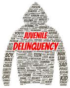 Juvenile delinquency word cloud shape Stock Illustration