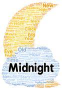 midnight word cloud shape - stock illustration