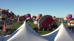 Stock Video Footage of Hot Air Balloons ready for ascension Albuquerque fast 4K 004