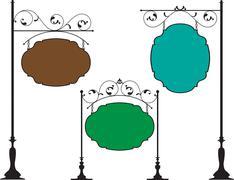 wrought iron signage - stock illustration