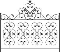 Wrought iron gate, door, fence, window, grill, railing design Stock Illustration