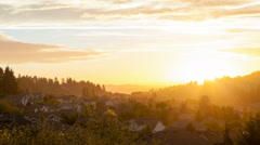 Time-lapse of Sunset and Clouds over City of Happy Valley in Oregon Stock Footage