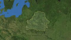 Belarus. 3d earth in space - zoom in on Belarus contoured on green 4k Arkistovideo
