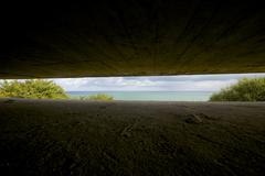battery of longues sur mer - stock photo