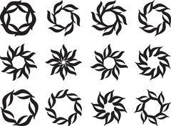 tattoo sun, flame tribal design - stock illustration
