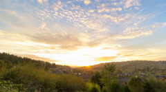 Time-lapse of Colorful Sunset with Clouds over City of Happy Valley in Oregon Stock Footage