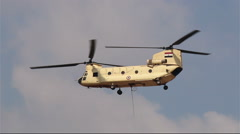 Helicopter CH-47 Chinook at the airshow in Cairo.  Egypt Stock Footage