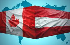 Stock Illustration of waving austrian and canadian flags