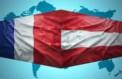 Stock Illustration of waving austrian and french flags