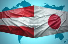 Stock Illustration of waving austrian and japanese flags