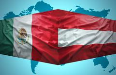 Stock Illustration of waving austrian and mexican flags
