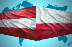 Stock Illustration of waving austrian and polish flags