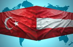 Stock Illustration of waving austrian and turkish flags