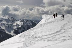 ice cornice exploration - stock photo
