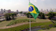 Brazil flag waving in the wind in Ipiranga, Sao Paulo, Brazil - stock footage