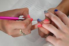Beauty treatment of fingernails Stock Photos