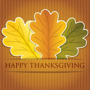 acorn leaf thanksgiving card in vector format. - stock illustration