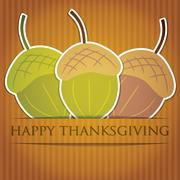 Acorn thanksgiving card in vector format. Stock Illustration