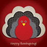 Happy thanksgiving cute material turkey card in vector format. Stock Illustration