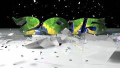 3D Model Of 2015 Text Breaking Thru Ice Stock Footage