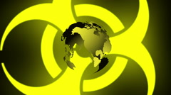 Pulsing Biohazard Symbol With Earth - stock footage