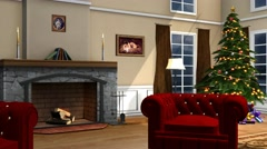 Christmas Living Room - video Background - 4k - stock footage