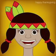 Stock Illustration of thanksgiving american indian woman character in vector format.