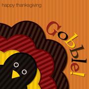 hiding turkey corduroy thanksgiving card in vector format. - stock illustration