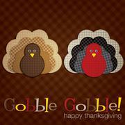 Plaid turkey thanksgiving card in vector format. Stock Illustration