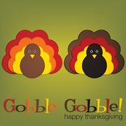 Felt turkey thanksgiving card in vector format. Stock Illustration