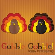 Corduroy turkey thanksgiving card in vector format. Stock Illustration