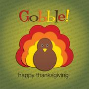 Hiding turkey felt thanksgiving card in vector format. Stock Illustration