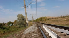 Beatiful view of railway and highway. Hill on the horizon. Stock Footage