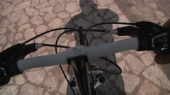 POV Shot of driving bike wheel Stock Footage