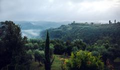 Foggy hillside in Tuscany Italy Stock Photos