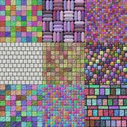 Stock Illustration of set of glazed tiles seamless generated textures