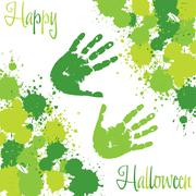 slime spatter handprint halloween card in vector format. - stock illustration
