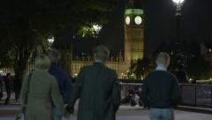 London south bank with Big Ben and Parliment Stock Footage