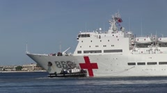 Hospital Ship Peace Ark Gets Underway During RIMPAC 2014 Stock Footage