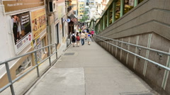 Time Lapse of People Walking Down Long Staircase - Central Hong Kong Stock Footage