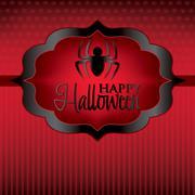 spider label halloween card in vector format. - stock illustration