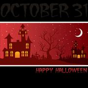 "Haunted house ""happy halloween"" card in vector format. Piirros"