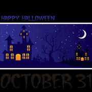 "Haunted house ""happy halloween"" card in vector format. Stock Illustration"
